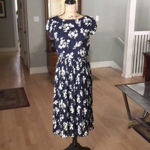 Mango Women's Printed Dress Navy/Multi Medium